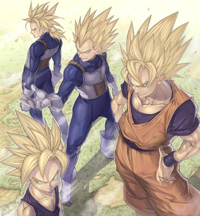 __son_gohan_son_gokuu_trunks_and_vegeta_dragon_ball_and_dragon_ball_z_drawn_by_katsutake__sample-a9ce3733f40b78980553625911e08d26