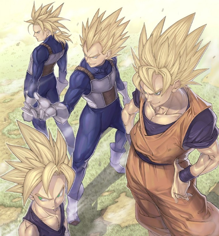 __son_gohan_son_gokuu_trunks_and_vegeta_dragon_ball_and_dragon_ball_z_drawn_by_katsutake__sample-a9ce3733f40b78980553625911e08d26
